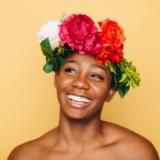 Talking Periods - woman wearing flower headband