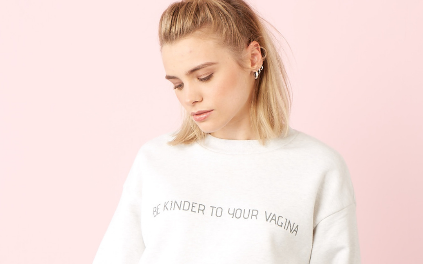 model wearing 'Be Kinder to Your Vagina' sweatshirt - switching to organic period care