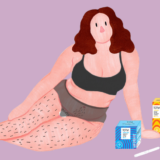 Illustration of woman with TOTM organic cotton period care