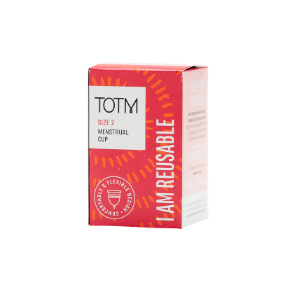pink TOTM menstrual cup showing I am reusable text written boldly