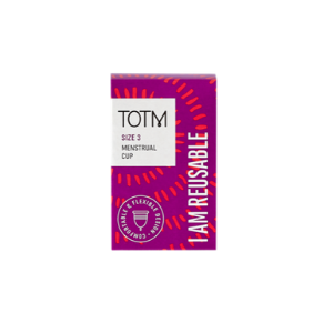 Purple TOTM menstrual cup showing I am reusable text written boldly